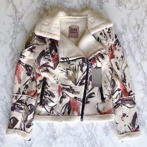Zara faux suede floral jacket